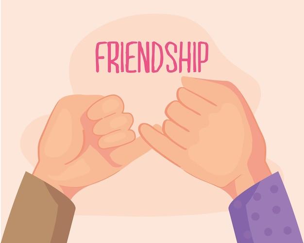 Freundschaftskarte mit händen, die versprechen