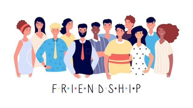 Freundschaftsplakat. menschenmenge, internationale freunde oder große familie. junge studenten mit lehrer. mitarbeiter-mann-frau, business-teamleiter-vektor-illustration. freundschaftsmassenplakat zusammen