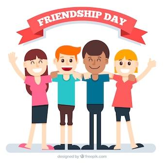 Freundschaftstag hintergrund mit glücklichen freunden