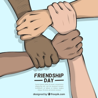 Freundschaftstageshintergrund mit den händen, die unterstützen