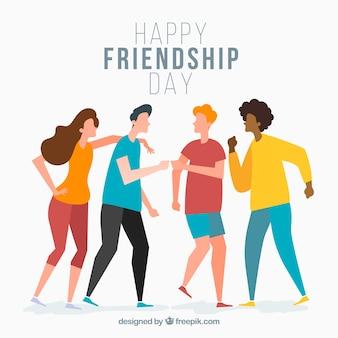 Freundschaftstageshintergrund mit freunden