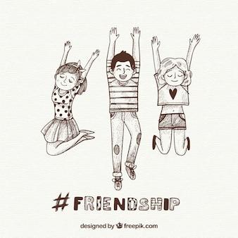 Freundschaftstageshintergrund mit glücklichen menschen