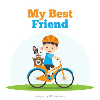 Freundschaftstageshintergrund mit jungen und seinem hund