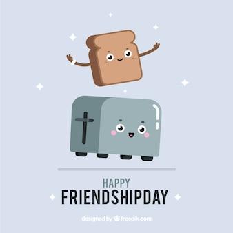 Freundschaftstageshintergrund mit netten karikaturen