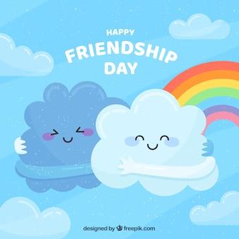 Freundschaftstageshintergrund mit netten wolken