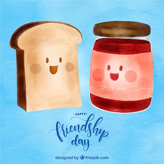 Freundschaftstageshintergrund mit toast und marmelade