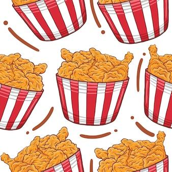 Fried chicken fast food nahtlose muster im flachen design-stil