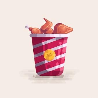 Fried chicken in der eimer-schnellimbiss-vektor-illustration