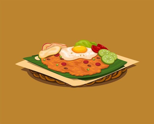 Fried rice alias nasi goreng ist traditionelles indonesisches straßenessen mit belag aus ei und pommes-vektor