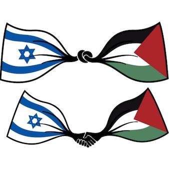Frieden fahnen israel und palästina