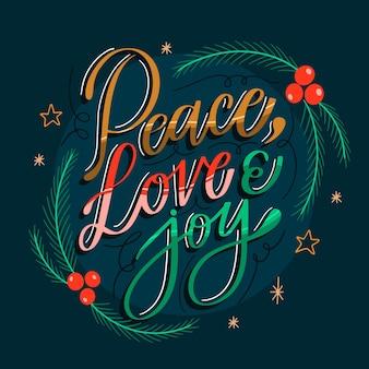 Frieden liebe und freude schriftzug