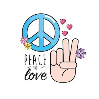 Frieden und liebessymbol und globaler geist