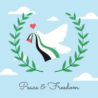 Friedens- und freiheitsbotschaft mit taube illustriert