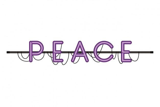 Friedensaufkleber in lokalisiertem symbol des neonlichtes
