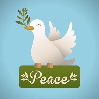Friedensdesign über blauer hintergrundvektorillustration
