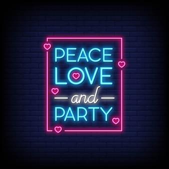 Friedensliebe und party für plakat in der neonart. moderne zitatinspiration im neonstil.