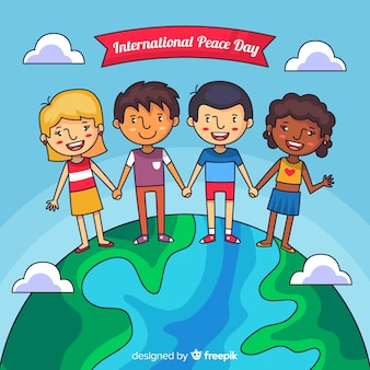 Friedenstag hintergrund mit kindern
