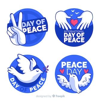 Friedenstagesabzeichensammlung mit flachem design