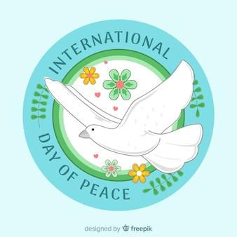Friedenstagesaufkleber mit weißer taube