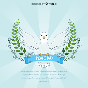 Friedenstageshintergrund mit weißer taube in der hand gezeichneten art