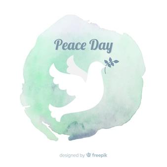 Friedenstageshintergrund mit weißer taube