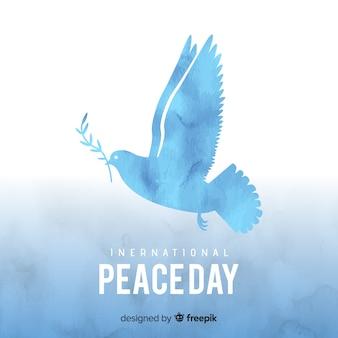 Friedenstageskonzept mit aquarelltaube