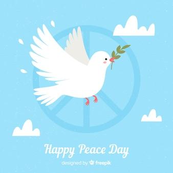 Friedenstageszusammensetzung mit flacher weißer taube