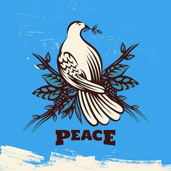 Friedenstaube mit olivenzweig