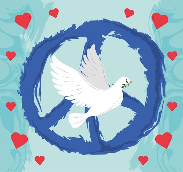 Friedenstaube und zeichen