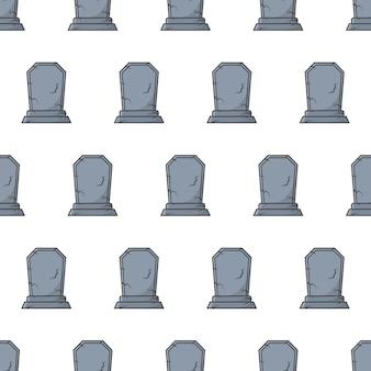 Friedhof grabstein nahtlose muster auf weißem hintergrund. grabstein-thema-vektor-illustration