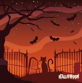 Friedhof in der szene halloween