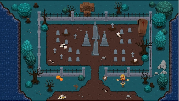 Friedhof top down game tileset
