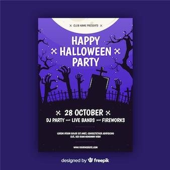 Friedhof unter vollmond halloween party flyer