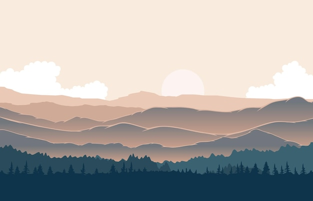 Friedliche bergpanorama-landschaft in der monochromatischen flachen illustration