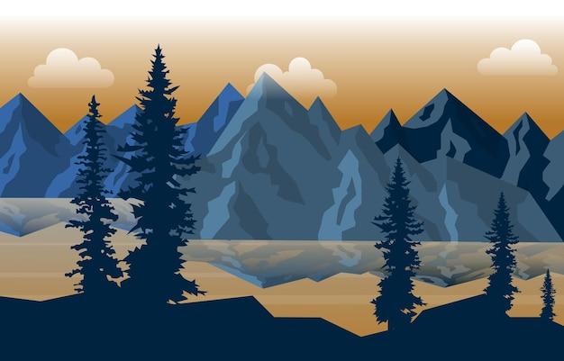 Friedliche bergsee fluss kiefer natur landschaft illustration