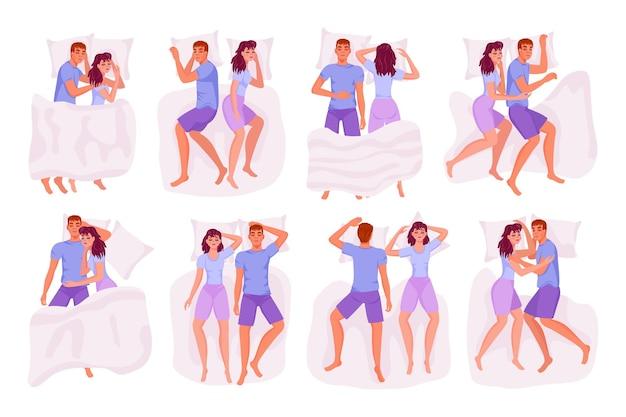 Friedlicher paarliebhaber zusammen schlafposition im bettsatz. schlafender verheirateter mann, frau, frau und mann, die ein nickerchen machen, ruhen verschiedene pose-vektor-illustration isoliert auf weißem hintergrund