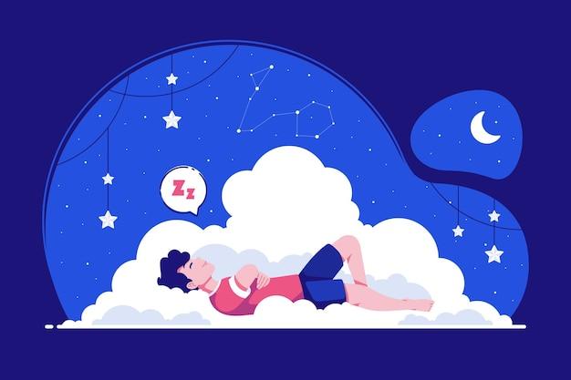 Friedlicher schlafkonzeptillustrationshintergrund