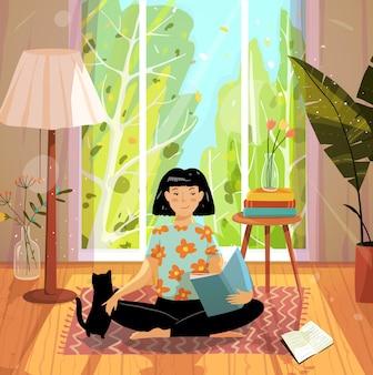 Friedliches und komfortables haus eingerichtetes interieur mit natur in großem fenster und frau oder mädchen