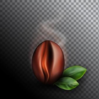 Frisch geröstete kaffeebohne mit steigendem rauch. realistische 3d illustration des duftenden kaffeekorns auf dunklem hintergrund