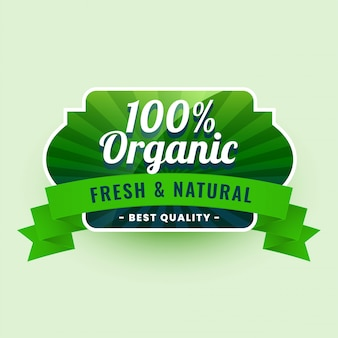 Frisch und natürlich 100% bio-lebensmittel-label-aufkleber