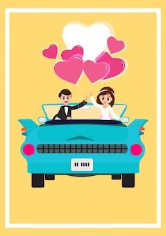 Frisch verheiratetes paar in der liebe, valentinsgrußtagesgruß-kartendesign.