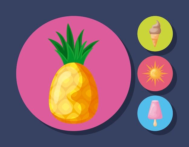 Frische ananas mit eis und sonne