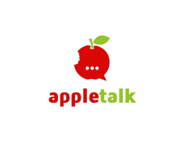 Frische apfelfrucht mit bubble-chat-logo-illustration