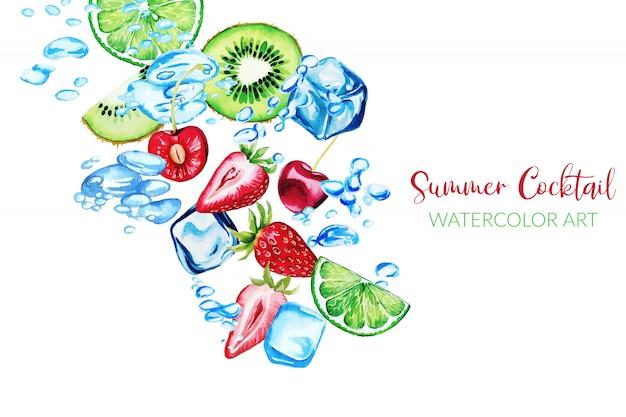 Frische aquarellerdbeeren, qiwi-scheiben und kirschen