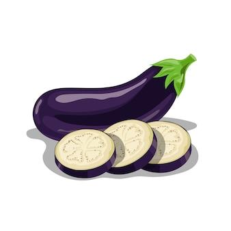 Frische auberginengruppe im karikaturstil. frische violette ganze gemüse- und auberginenrundenscheiben. bauernhof frisch. illustration auf weißem hintergrund.