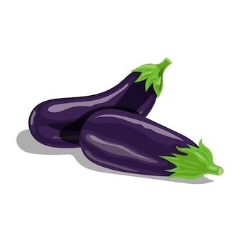 Frische auberginengruppe im karikaturstil. frisches violettes ganzes gemüse. bauernhof frisch. illustration auf weißem hintergrund.