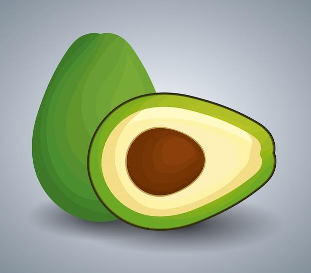 Frische avocado mit scheibe