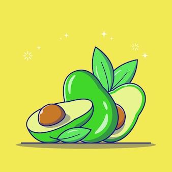 Frische avocado und saftige reife scheiben avocado mit blättern flache symbolillustration