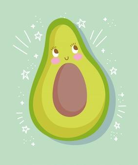 Frische avocado-vektorillustration der niedlichen nahrungsmittelernährungskarikatur
