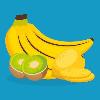 Frische bananen und kiwi mit guavenfrüchten